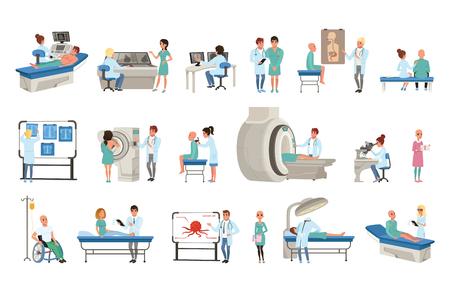 Diagnose en behandeling van kanker set, artsen, patiënten en apparatuur voor oncologie geneeskunde vector illustraties op een witte achtergrond