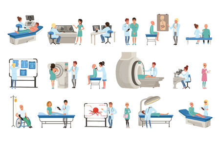 Diagnostic and treatment of cancer set, doctors, patients and equipment for oncology medicine vector Illustrations on a white background