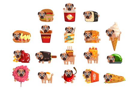 Cute funny pug dog character as fast food ingredient set of vector Illustrations