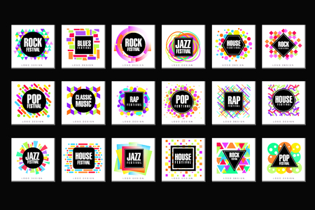 Music Festival set, classic, house, pop, rap, jazz music design element vector Illustrations