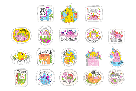 Lovely unicorn patches set, trendy colorful unicorn stickers in different actions vector Illustrations isolated on a white background.