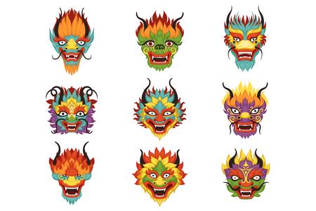 Chinese geplaatste draakhoofden, Chinese Nieuwjaarsymbool vectorillustraties