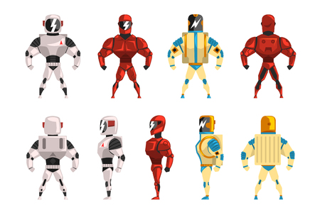 Robot costumes set, superhero man vector Illustrations