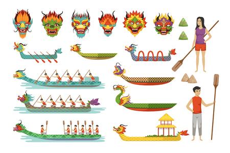 Conjunto de botes de dragón, equipo de atletas masculinos compiten en ilustraciones de vectores de Dragon Boat Festival