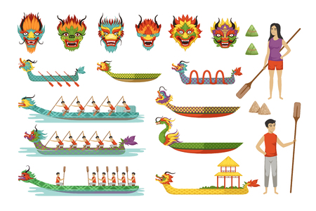 Dragon boats set, team of male athletes compete at Dragon Boat Festival vector Illustrations