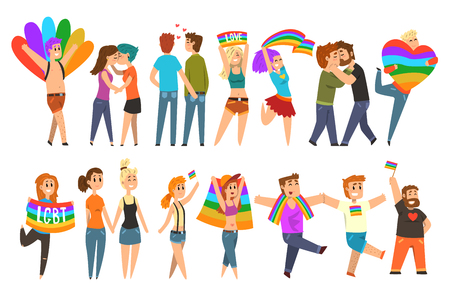 Lgbt community celebrating gay pride, love parade cartoon vector Illustrations on a white background Vectores