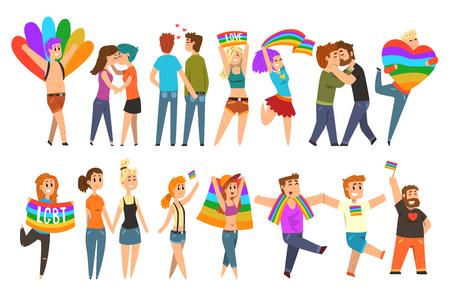 LGBT-gemeenschap vieren trots, love parade cartoon vector illustraties op een witte achtergrond