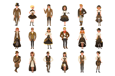 People dressed in historic clothes, man and woman wearing brown fantasy costume set vector Illustrations isolated on a white background.