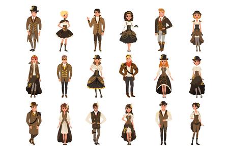 Persone vestite in abiti storici, uomo e donna che indossano il costume di fantasia marrone set vettoriale illustrazioni isolate su sfondo bianco.