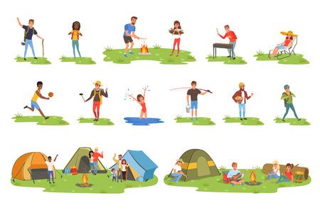 Set di persone in camper, turisti che viaggiano, campeggiano e si rilassano illustrazioni vettoriali su sfondo bianco Vettoriali