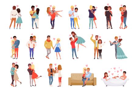 Personajes de hombres y mujeres jóvenes enamorados abrazándose, felices parejas amorosas románticas dibujos animados vector ilustraciones sobre un fondo blanco