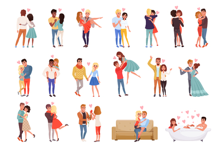 Young men and women characters in love hugging set, happy romantic loving couples cartoon vector Illustrations on a white background