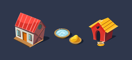 Small house and doghouse, village and farm objects, mobile game user interface GUI element for video computer games vector Illustration, web design