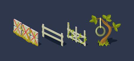 Recinzione in legno e albero con un'altalena, villaggio e oggetti di fattoria, elemento di GUI dell'interfaccia utente di gioco mobile per videogiochi per computer vector Illustration, web design