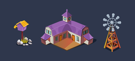 Village farm house and windmill, mobile game user interface GUI element for video computer games vector Illustration, web design Vektorové ilustrace