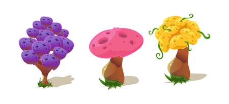 Colorful fantastic plants, nature landscape elements for mobile or computer games vector Illustration, web design Stock Illustratie