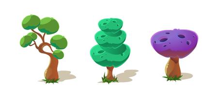 Colorful fantastic trees, nature landscape elements for mobile or computer games vector Illustration, web design Stock Illustratie