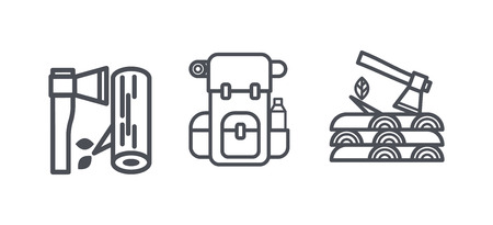 Camping and hiking icons, outdoor recreation activity outline symbols, linear pictograms vector Illustration, web design Illustration