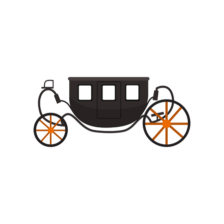 Black vintage brougham, carriage vector Illustration isolated on a white background. Illustration