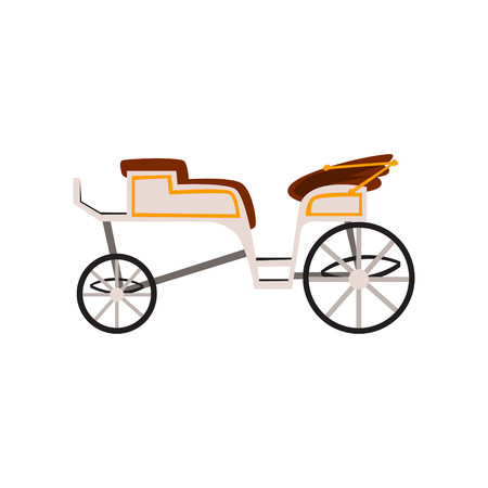 Retro carriage, wedding coach, antique vehicle vector Illustration isolated on a white background.