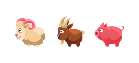 Sheep, goat and pig, funny cartoon farm animals, game user interface, element for mobile or computer games vector Illustration