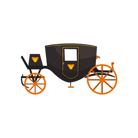 Retro carriage, vintage transport vector Illustration isolated on a white background.