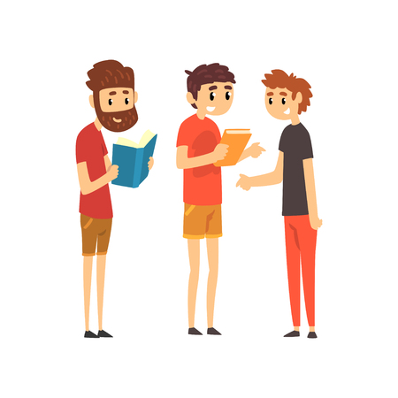 Men standing with books, people choosing books in bookstore vector Illustration isolated on a white background.
