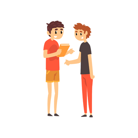 Young men discussing the book, people choosing books in bookstore vector Illustration isolated on a white background.
