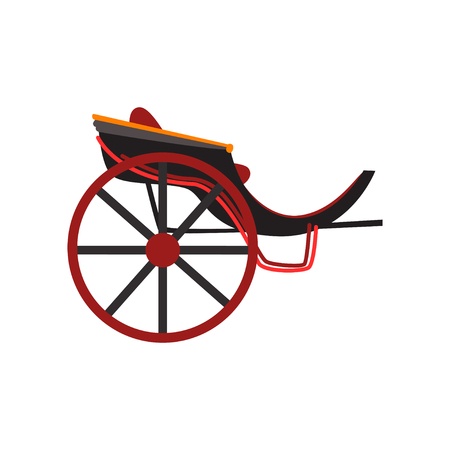 Retro carriage for transportation of people, antique vehicle vector Illustration isolated on a white background.