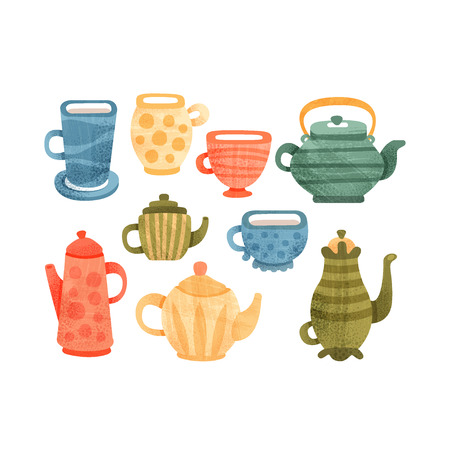 Tea time set, collection of cups, mugs, coffee and teapots vector Illustrations isolated on a white background.