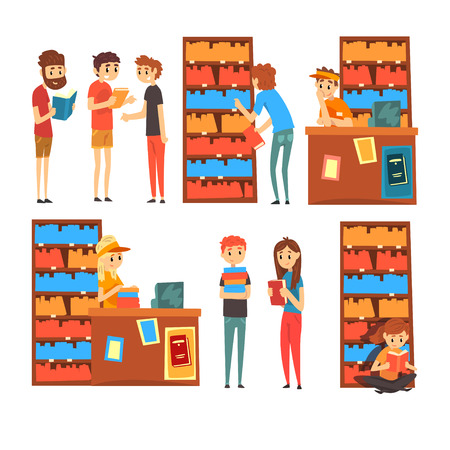 People in the shop looking, reading and choosing books, bookstore with bookshelves cartoon vector Illustration isolated on a white background. Illustration