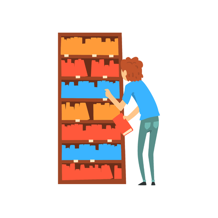 Young man choosing books in bookstore cartoon vector Illustration isolated on a white background.