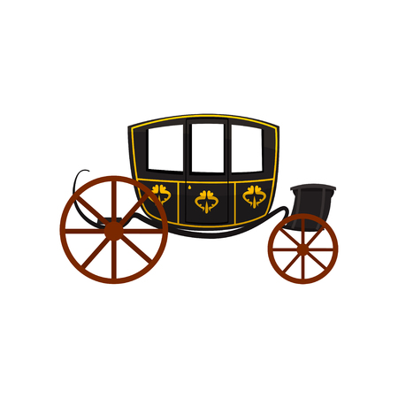 Retro carriage, wagon for traveling, antique vehicle vector Illustration isolated on a white background. Vettoriali