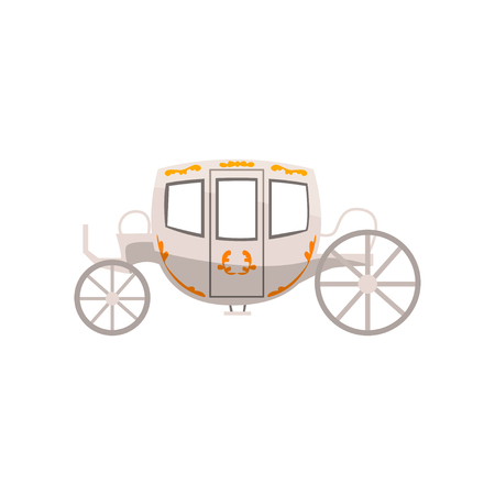 Vintage brougham, wedding carriage vector Illustration isolated on a white background.
