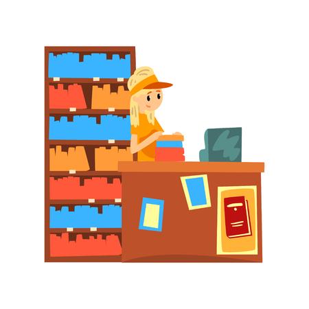 Vendeuse debout derrière le comptoir du vecteur de dessin animé de librairie Illustration isolé sur fond blanc.