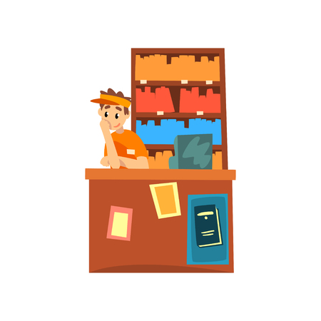 Male seller standing behind the counter of the bookstore cartoon vector Illustration isolated on a white background. Illustration