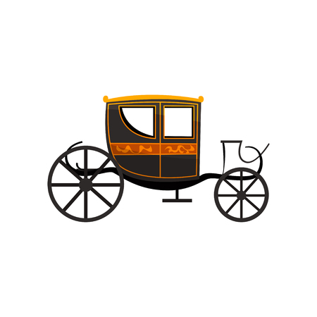 Retro carriage, antique vehicle vector Illustration isolated on a white background.