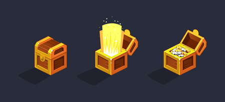 Treasure ches, open and closed antique golden boxes with golden and silver coins, game user interface element for video computer games vector Illustration, web design