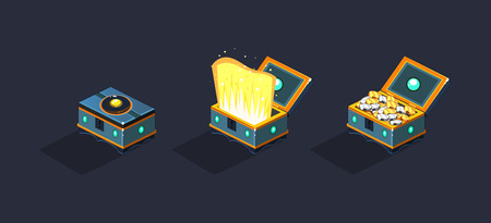 Treasure chests, open and closed boxea, game user interface element for video computer games vector Illustration, web design