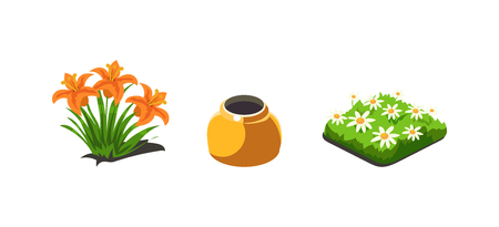 Garden plants, lilies and chamomiles flowers, game user interface nature elements for video computer games vector Illustration, web design
