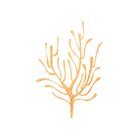 Colorful icon of small branching coral. Ocean plant. Nature and marine fauna. Sea life. Graphic element for book or poster. Flat vector illustration with texture isolated on white background. Vettoriali