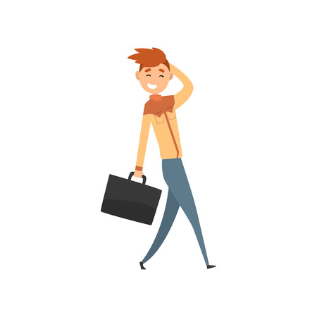 Young smiling man walking with suitcase cartoon vector Illustration isolated on a white background. Stockfoto - 110084255