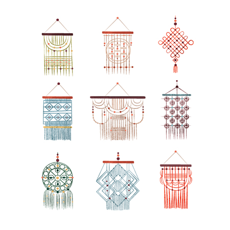 Macrame hangings set, elegant handmade home decorations made of cotton cord vector Illustration isolated on a white background. Иллюстрация