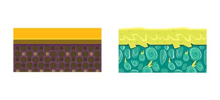 Seamless fantasy ground textures, alien land surface, endless platforms for game user interface, element for mobile or computer games vector Illustration, web design