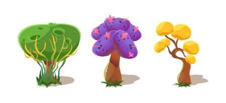 Fantasy trees, nature landscape elements for mobile or computer games vector Illustration, web design Foto de archivo - 110084263