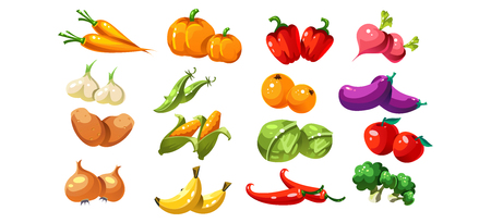 Ripe glossy coloful vegetables and fruits, game user interface element for video computer games vector Illustration, web design Illustration