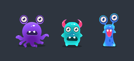 Cute funny monsters, cartoon glossy aliens, game user interface element for video computer games vector Illustration, web design Illustration