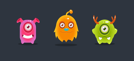 Cute funny colorful monsters, funny aliens, game user interface element for video computer games vector Illustration, web design Stock Illustratie