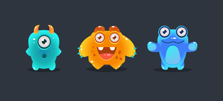 Cute colorful monsters, funny cartoon glossy aliens, game user interface element for video computer games vector Illustration