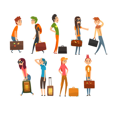 People carrying heavy suitcases set, young man and woman traveling on vacation cartoon vector Illustration isolated on a white background. Illustration